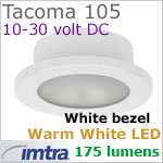 12 volt LED light (10-30vdc) - Tacoma 105 LED Light, White finish, warm white LED, IP65, Diameter: 105mm - 4.13 inch