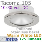 12 volt LED light (10-30vdc) - Tacoma 105 LED Light, Polished Stainless Steel, warm white LED, IP65, Diameter: 105mm - 4.13 inch