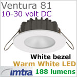 12 volt LED light (10-30vdc) - Ventura 81 PowerLED Light, White finish, warm white LED, IP65, Diameter: 81mm - 3.18 inch