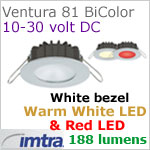 12 volt LED light (10-30vdc) - Ventura 81 Bi-Color PowerLED Light, White finish, warm white -red LED, IP65, Diameter: 81mm - 3.18 inch