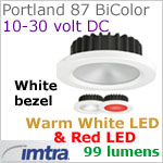 12 volt LED light (10-30vdc) - Portland 87 PowerLED Light Bi-Color, White finish, warm white -red LED, IP65, Diameter: 87mm - 3.43 inch