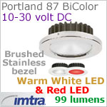 12 volt LED light (10-30vdc) - Portland 87 PowerLED Light Bi-Color, Brushed Stainless Steel, warm white -red LED, IP65, Diameter: 87mm - 3.43 inch