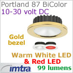 12 volt LED light (10-30vdc) - Portland 87 PowerLED Light Bi-Color, Gold, warm white -red LED, IP40, Diameter: 87mm - 3.43 inch
