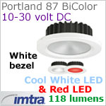 12 volt LED light (10-30vdc) - Portland 87 PowerLED Light Bi-Color, White finish, cool white -red LED, IP65, Diameter: 87mm - 3.43 inch