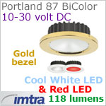 12 volt LED light (10-30vdc) - Portland 87 PowerLED Light Bi-Color, Gold, cool white -red LED, IP40, Diameter: 87mm - 3.43 inch
