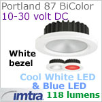 12 volt LED light (10-30vdc) - Portland 87 PowerLED Light Bi-Color, White finish, cool white -blue LED, IP65, Diameter: 87mm - 3.43 inch