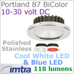 12 volt LED light (10-30vdc) - Portland 87 PowerLED Light Bi-Color, Polished Stainless Steel, cool white -blue LED, IP65, Diameter: 87mm - 3.43 inch