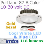 12 volt LED light (10-30vdc) - Portland 87 PowerLED Light Bi-Color, Gold, cool white -blue LED, IP40, Diameter: 87mm - 3.43 inch