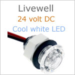 24 Volt Livewell LED Light, White finish, cool white LED, IP65, Diameter: 0.99 inches