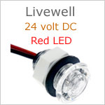 24 volt Livewell LED Light, White finish, Red LED, IP65, Diameter: 0.99 inches