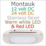 12 volt LED Courtesy Light (11-29vdc) - Montauk, Stainless Steel, warm white -red LED, IP65, Length x width: 3.06 x 1.35 inches