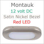 12 volt LED Courtesy Light (12dc) - Montauk, Satin Nickel, red LED, IP40, Length x width: 3.06 x 1.35 inches