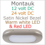 12 volt LED Courtesy Light (11-29vdc) - Montauk, Satin Nickel, warm white -red LED, IP40, Length x width: 3.06 x 1.35 inches