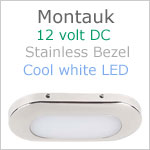 12 volt LED Courtesy Light (12dc) - Montauk, Stainless Steel, cool white LED, IP65, Length x width: 3.06 x 1.35 inches