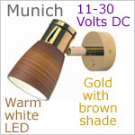 12 volt LED Reading Light (10-30vdc) - Munich, Gold with Brown Shade, warm white LED, IP20, 192 lumens. Special order, allow approx 4-6 weeks.