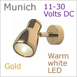 12 volt LED Reading Light (10-30vdc) - Munich, Built-in Dimmer, Gold, warm white LED, IP20, 165 lumens, Size: 5.6 inches max extension