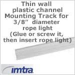 Mounting Track, Clear, for 3/8 inch LED Rope Light (3 foot section)