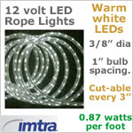 12 Volt LED Rope Lights, WARM white LEDs