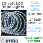 12 Volt LED Rope Lights, COOL white LEDs