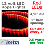 12 Volt LED Rope Lights, Red LEDs