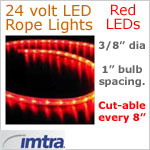24 Volt LED Rope Lights, Red LEDs