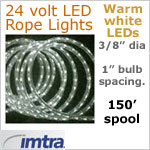 SPOOL OF 150 FEET of 24 Volt LED Rope Lights, WARM white LEDs