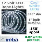 Spool OF 150 feet of 12 Volt LED Rope Lights, COOL white LEDs