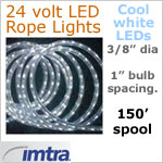 SPOOL OF 150 FEET of 24 Volt LED Rope Lights, COOL white LEDs