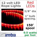 Spool OF 150 feet of 12 Volt LED Rope Lights, Red LEDs