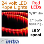 SPOOL OF 150 FEET of 24 Volt LED Rope Lights, Red LEDs