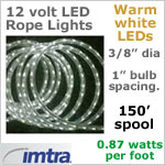 Spool OF 150 feet of 12 Volt LED Rope Lights, WARM white LEDs