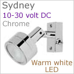 12 volt LED Reading Light (10-30vdc) - Sydney with switch, Chrome, warm white LED, IP20, 92 lumens