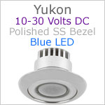 12 volt LED Courtesy Light (10-30vdc) - Yukon, Stainless Steel, blue LED, IP65