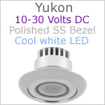 12 volt LED Courtesy Light (10-30vdc) - Yukon, Stainless Steel, cool white LED, IP65