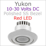 12 volt LED Courtesy Light (10-30vdc) - Yukon, Stainless Steel, red LED, IP65