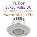 12 volt LED Courtesy Light (10-30vdc) - Yukon, Stainless Steel, warm white LED, IP65