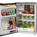 Marine Refrigerators - Cruise 130 Drink Standard Marine Refrigerator - DC Only 12-24v, Left door swing, Black Door & Panel, 3 Sided Black Flange, No Freezer. Ships by LTL Freight Carrier.