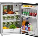 Marine Refrigerators - Cruise 130 Drink Standard Marine Refrigerator - AC-DC 115-230 12-24v, Right swing, Black Door & Panel, 3 Side Black Flange, No Freezer. Ships by LTL Freight Carrier.
