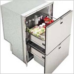 Marine Refrigerators - Double Drawer 160 Frost Free Marine Refrigerator - Freezer & Ice Maker - 5.65 Cu. Ft. - Stainless Steel Flush Mount. Ships by LTL Freight Carrier.