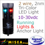 2 wire 2 Nautical Mile LED Tricolor Anchor combination light with Wind Indicator Illumination
