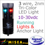 3 wire 2 Nautical Mile LED Tricolor Anchor combination light with Wind Indicator Illumination