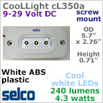 CooLLight 3 LED Light Fixture, IP69 12-24 volt DC (9-29vdc), COOL white, 240 lumens