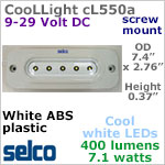 CooLLight 5 LED Light Fixture, lumen, IP69 12-24 volt DC (9-29vdc), COOL white, 400 lumens