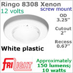 12 volt Ceiling Lights - Ringo 8308 Recess Ceiling Light, WHITE Bezel with 10 watt XENON Bulb