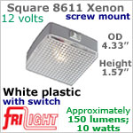12 volt Ceiling Lights - Square 8611 Utility Light with rocker switch, WHITE with 10 watt XENON Bulb