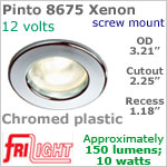 12 volt Ceiling Lights - Pinto 8675 Recess Ceiling Light, CHROME Colored with 10 watt XENON Bulb