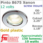 12 volt Ceiling Lights - Pinto 8675 Recess Ceiling Light, GOLD Colored with 10 watt XENON Bulb