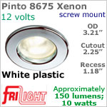 12 volt Ceiling Lights - Pinto 8675 Recess Ceiling Light, WHITE with 10 watt XENON Bulb