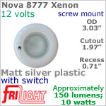 12 volt Ceiling Lights - Nova 8777 Recess Ceiling Light with Switch, MATT SILVER colored Bezel with 10 Watt XENON Bulb
