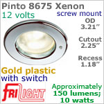 12 volt Ceiling Lights - Pinto 8675 Recess Ceiling Light with switch, GOLD Colored with 10 watt XENON Bulb